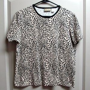Cheetah Animal print short sleeve knit top